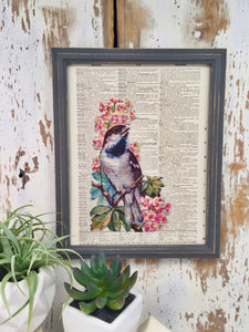 BIRD AND FLOWERS DICTIONARY PRINT