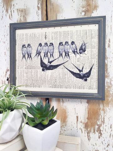 BIRD ON WIRE DICTIONARY PRINT (WHSL)