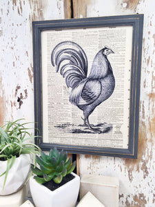 BLACK AND WHITE ROOSTER DICTIONARY PRINT