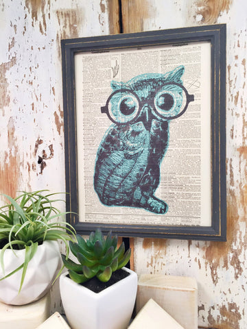 BLUE OWL DICTIONARY PRINT