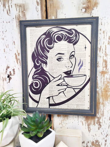 VINTAGE COFFEE WOMAN DICTIONARY PRINT (WHSL)