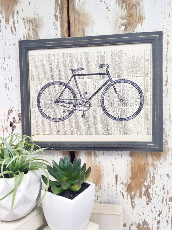 GRAY BICYCLE DICTIONARY PRINT