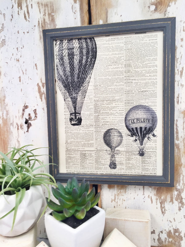 HOT AIR BALLOONS DICTIONARY PRINT