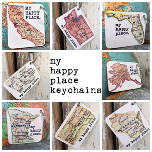 MY HAPPY PLACE STATE KEY CHAINS