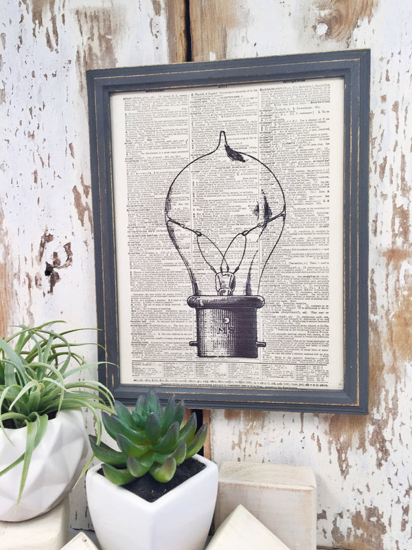 LIGHT BULB DICTIONARY PRINT