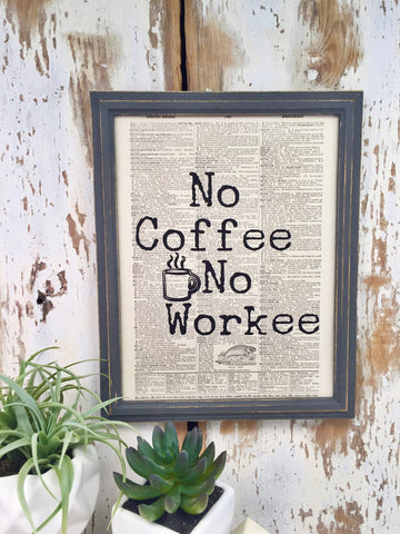 NO COFFEE DICTIONARY PRINT