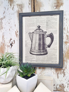 OLD COFFEE POT DICTIONARY PRINT