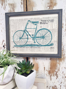 TEAL BICYCLE DICTIONARY PRINT