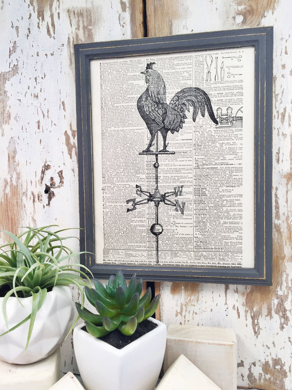 ROOSTER WEATHERVAIN DICTIONARY PRINT