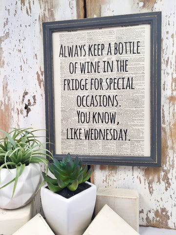 WINE WEDNESDAY DICTIONARY PRINT (WHSL)