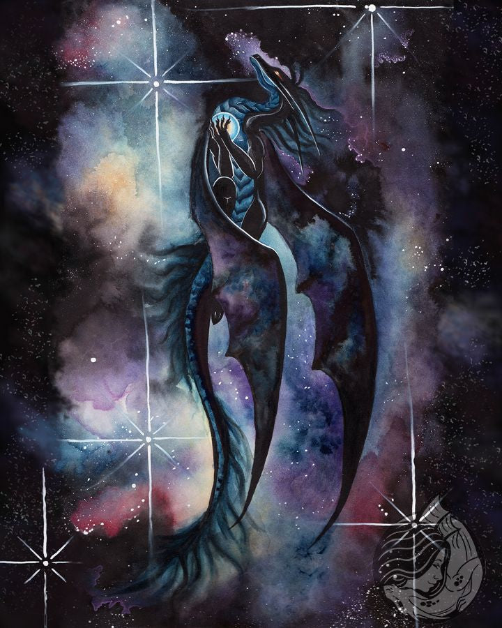 Dragon Art: Black dragon soaring though the night sky in front of a nebula cloud of blues, purples, and creams. The dragon is carrying a star clasped to his chest.