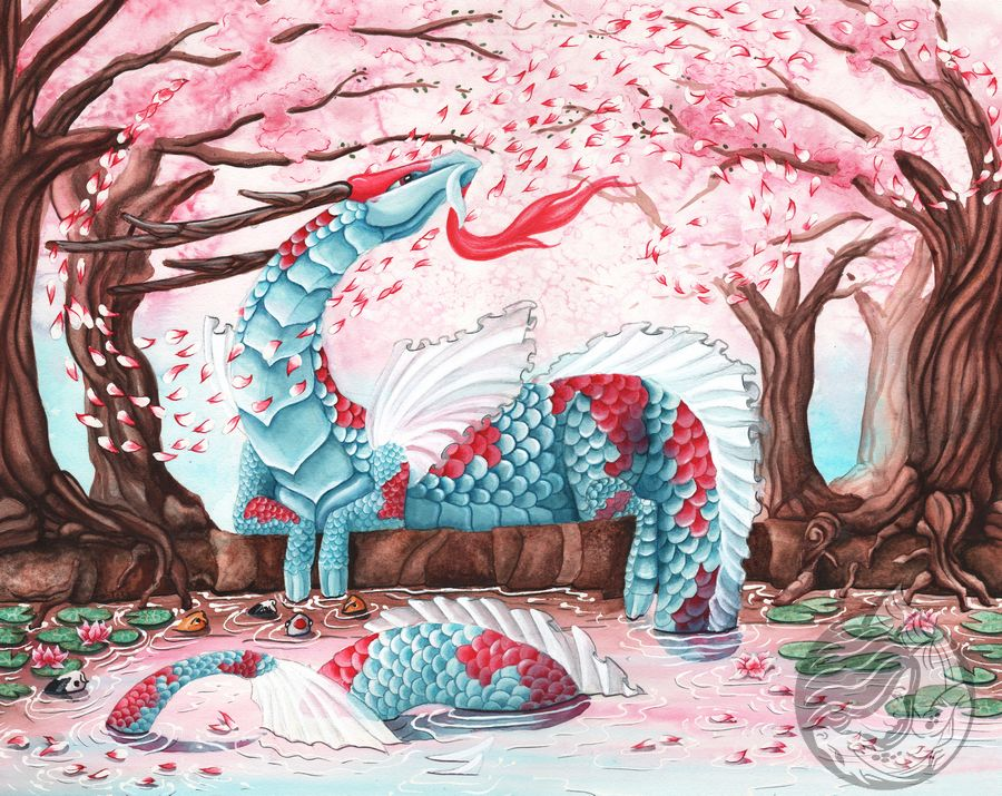 Dragon art: Pink and blue eastern dragon with koi patterning on a river bank with cherry trees around her. Cherry blossoms swirl in the breeze.