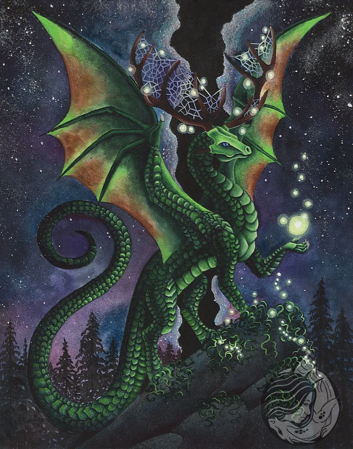 Dragon art: Green dragon with antlers on a cliff in the forest. Its nighttime and lights are fliting and floating around him.