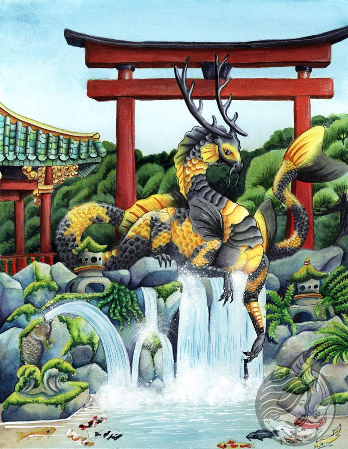 Dragon Art: Black and gold colored eastern dragon in a Japanese garden in front of a red gate.