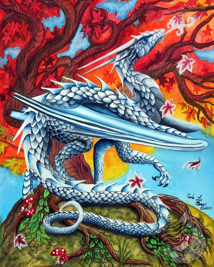 Dragon Art: White ice dragon blowing frost onto falling leaves from a red and gold maple tree.