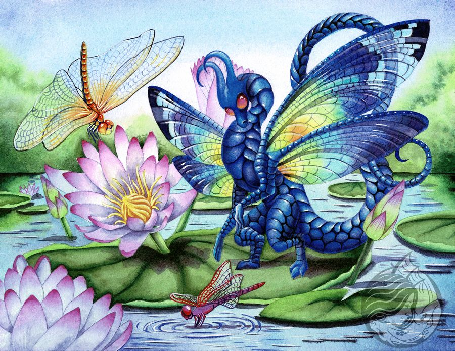 Dragon Art Blue Dragonfly Dragon surrounded by 3 colorful dragonflies on a lily pad.