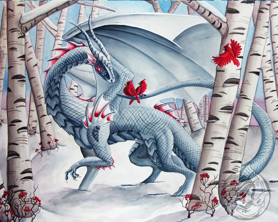 Dragon Art: White dragon walking though the snow in a birch forest. There are 2 cardinals perched on her tail looking at her, with a third flying in her.