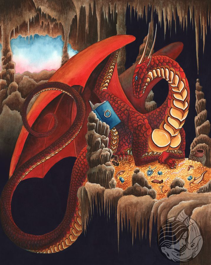 Dragon Art: Red dragon sitting on a pile of treasure in a cave with a book open on a pedestal.