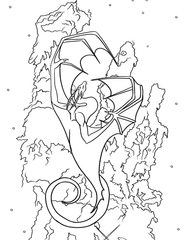 Coloring sheet for a dragon flying upwards in front of the Eagle nebula, 3 red dust pillars in space.