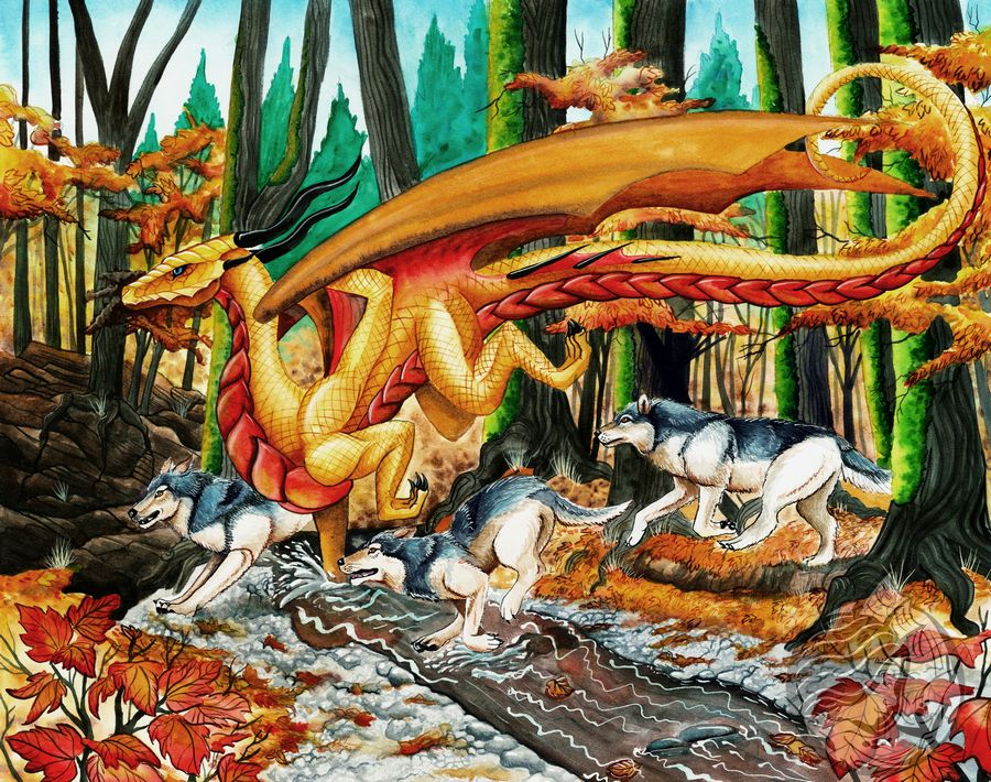 Dragon Art: Golden Autumnal dragon running through a forest stream with 3 wolves running along side. The background is thick golden changing forest trees.