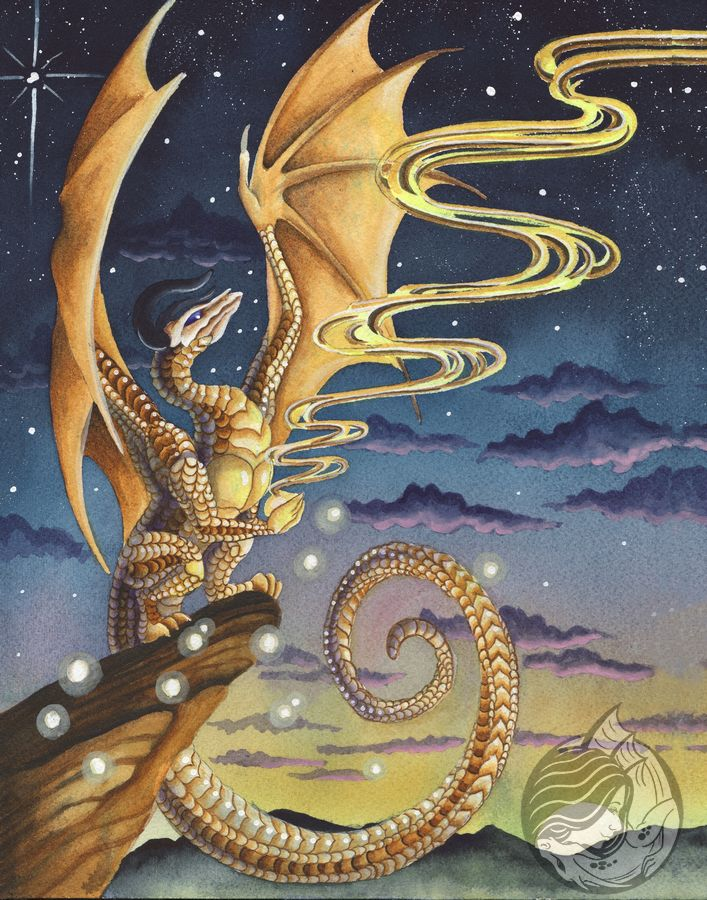Dragon art: Gold skull headed dragon on a cliff, liquid gold light streaming front his front talons into a sunset sky.