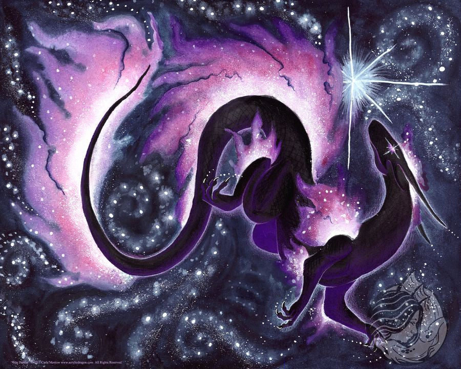 Black dragon art with nebula fins dancing with stars.