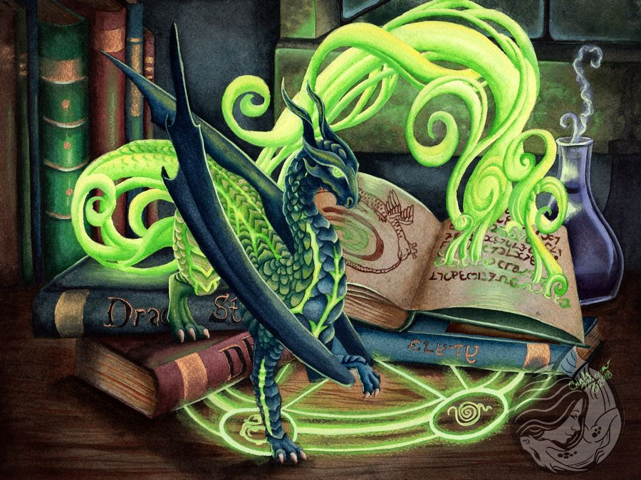 Dragon Art: Blue dragon flowing out of a spell book in a woosh of green light. The spell book in open on a table with a glowing spell circle and surrounded by wizards tools.