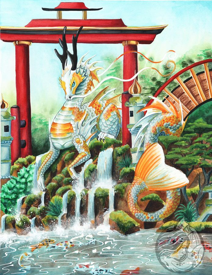 Dragon Art: Eastern dragon with koi colors in a Japanese garden with a red gate and a bridge behind her.
