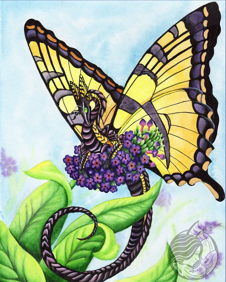 Dragon Art: Dragon with yellow tiger butterfly wings perched on a purple flower