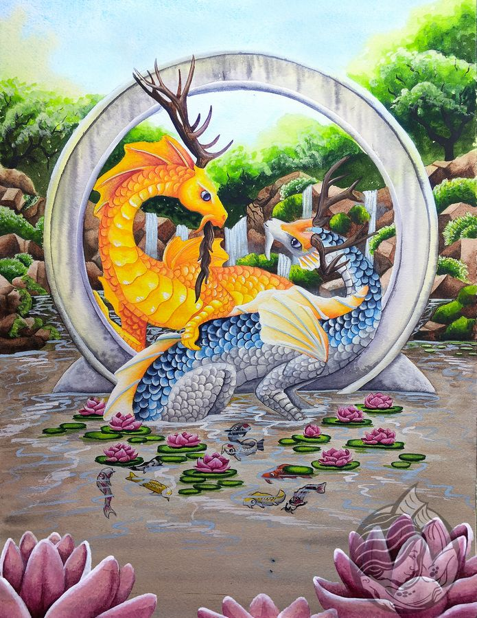 Dragon art: 2 koi colored eastern dragons surrounded by water lilies in front of a round gateway.