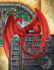Red dragon sitting on the top of a book shelf in a library. Behind the dragon is a stained glass window featuring a tree with golden apples from the tree of knowledge. Nestled in the dragons tail is a blue open book. He is turned, reading the book.