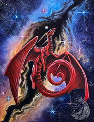 Red dragon soaring though a nebula