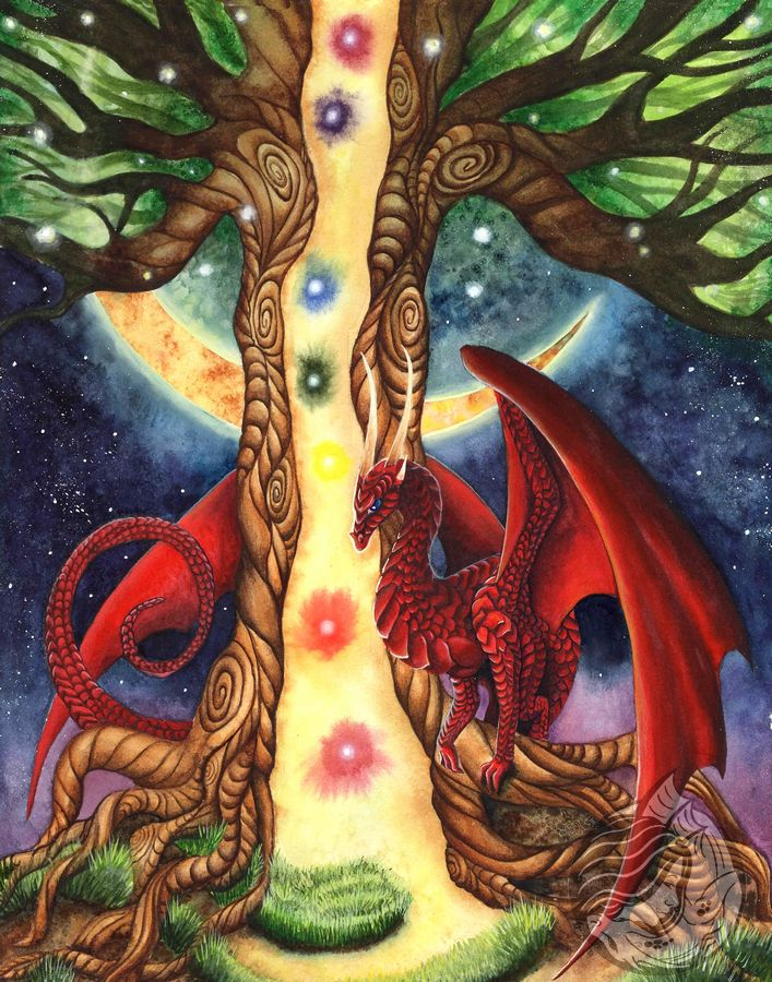 Dragon art: A red dragon wrapped around a tree that is cracked open, it has lights spilling out and 7 rainbow glowing lights representing the 7 chakras.