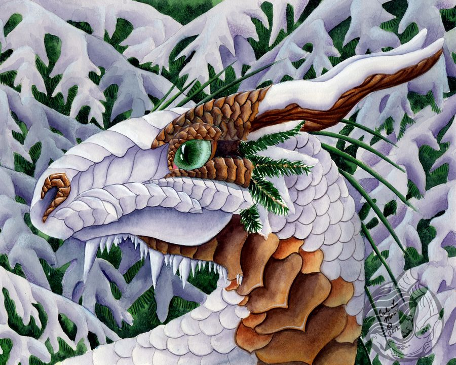 Dragon Art: White dragon bust in front of snow covered pines. The dragon has horns that look like wood and details that mimic pine cones.