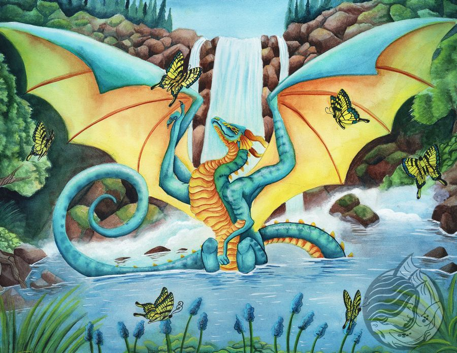 Dragon Art: Teal and golden dragon sitting in a pond with a waterfall in the background. Butterflies flutter around him with blue flowers along the edge of the pond.