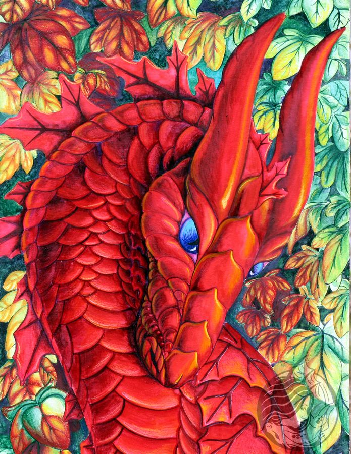 Dragon Art: Red dragon bust with blue eyes, walking past a wall of ivy and the leaves are changing to red as she passes.