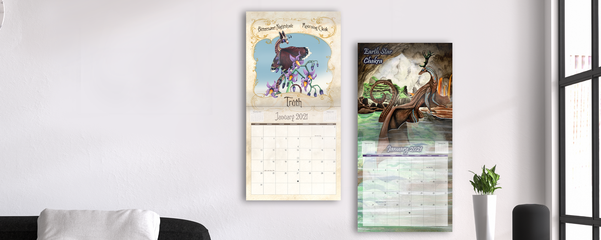 A room featuring 2 dragon calendars