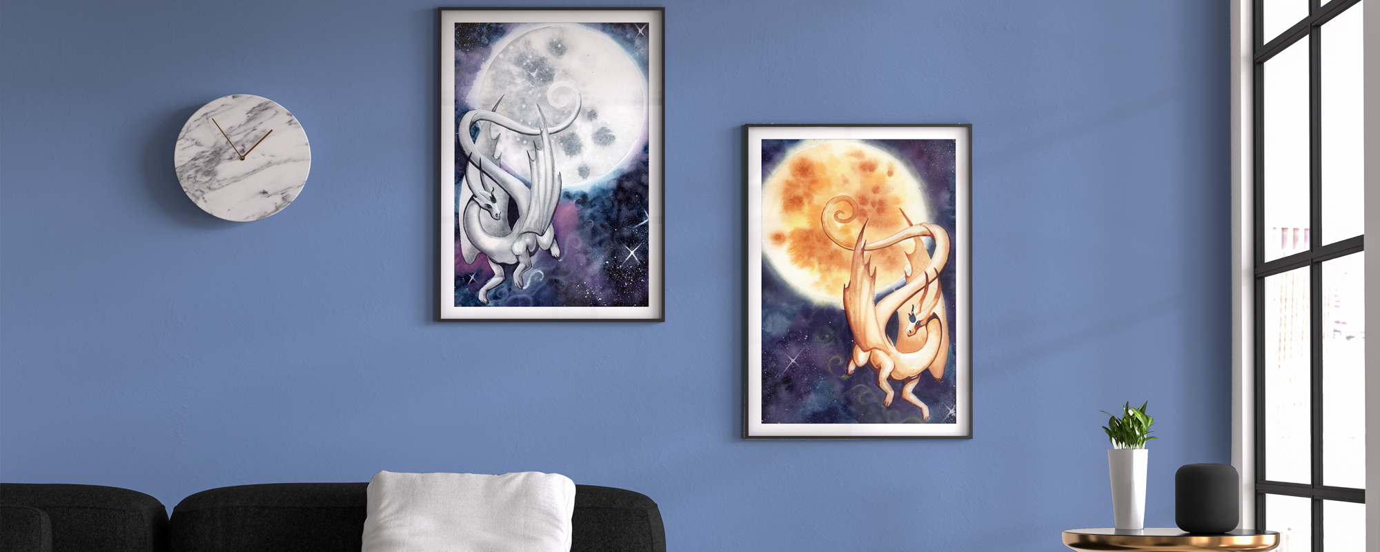Blue room with art hanging. 2 dragons, one with the moon, the other with the sun.