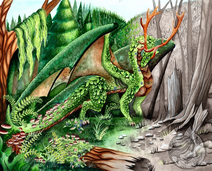 Dragon Art: A dragon made of the forest itself, leaves, moss, and wood, is walking though a landscape of burned and charred forest. She is bringing the life of the forest back after a death of fire.