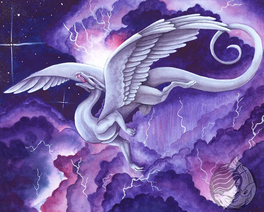 Dragon Art: White dragon soaring happily in front of purple and pink storm clouds lit up by lighting.