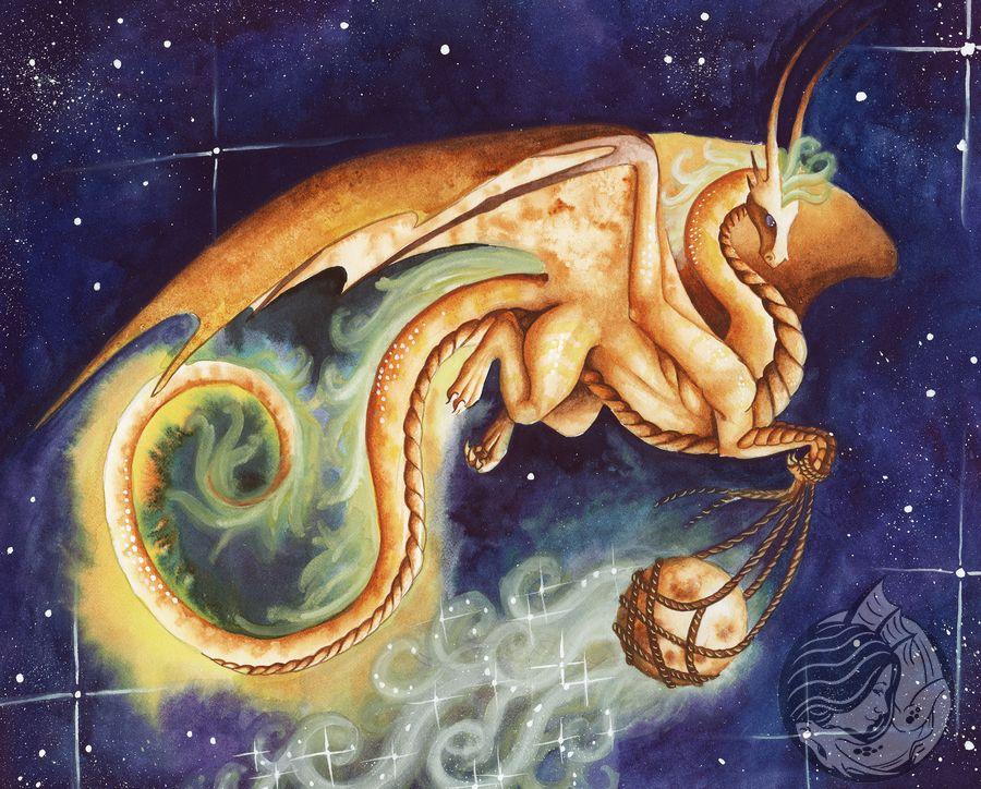 Golden Dragon flying through space carrying the moon
