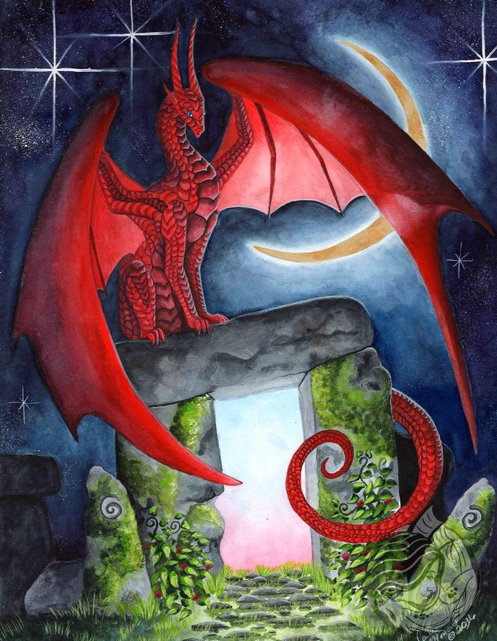 Dragon art: Red dragon sitting on a monolith Stonehenge in front of a crescent moon.