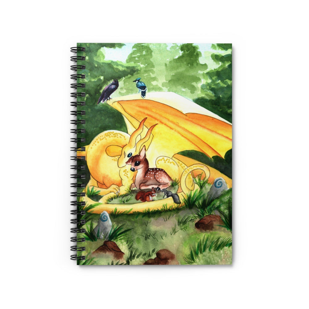Dragon Oracle: Sunshine Yellow Dragon Spiral Notebook - Ruled Line