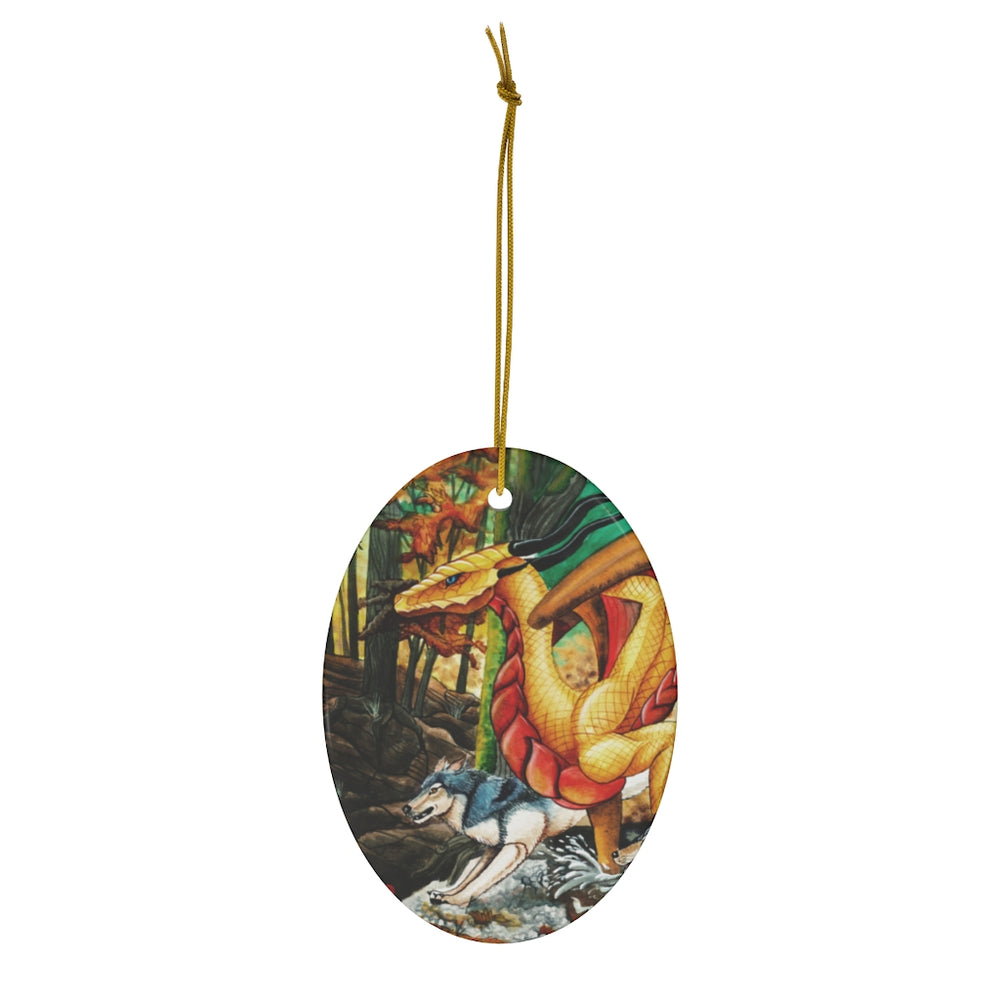 Load image into Gallery viewer, Running Free Dragon Ceramic Ornament