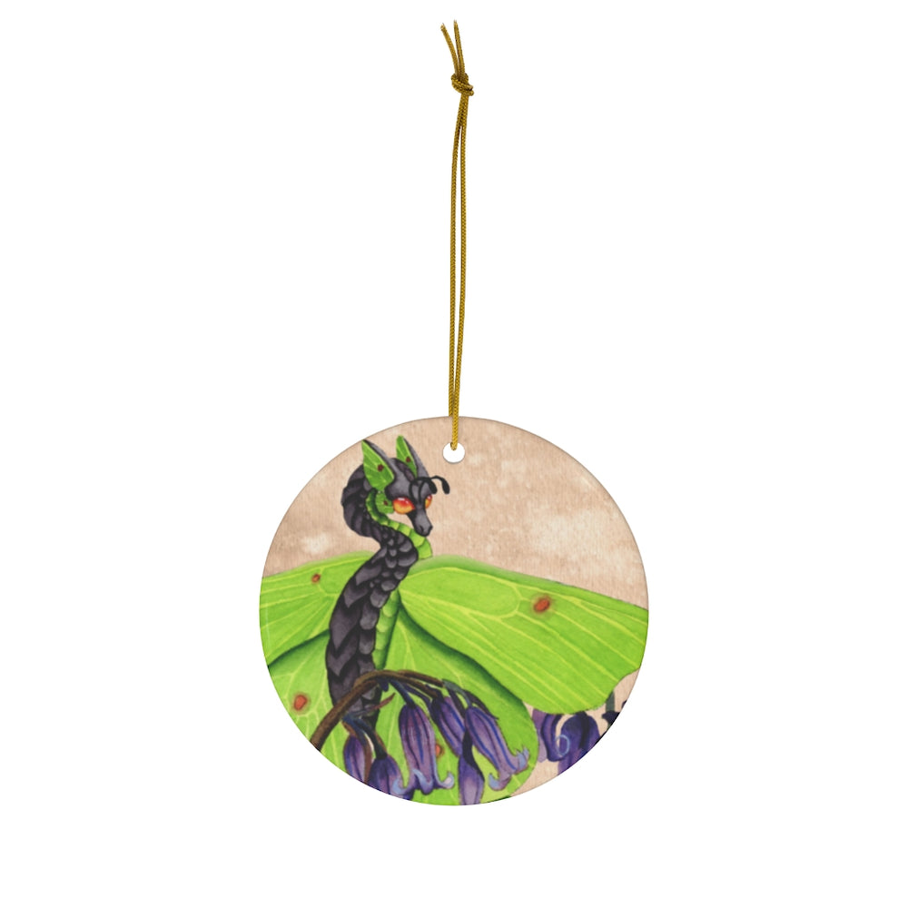 Load image into Gallery viewer, Enchanted Blossoms Gratitude Dragon Ceramic Ornament