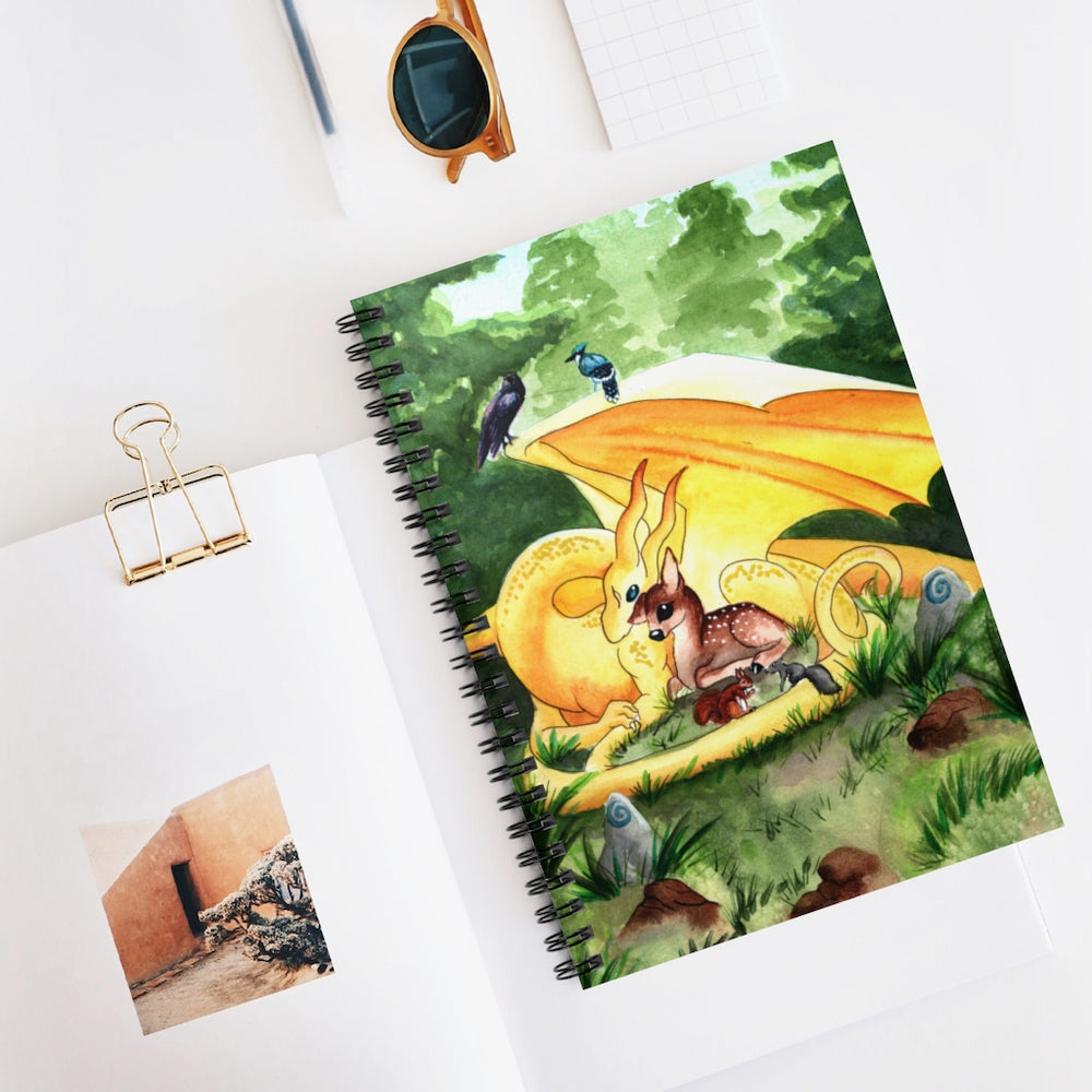 Load image into Gallery viewer, Dragon Oracle: Sunshine Yellow Dragon Spiral Notebook - Ruled Line