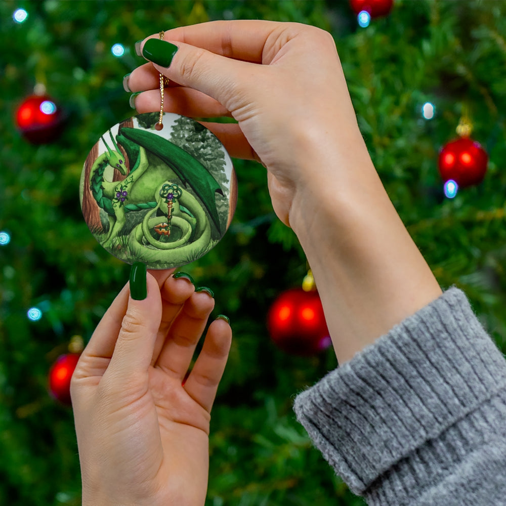 Load image into Gallery viewer, Dragon Oracle Green Dragon Ceramic Ornaments