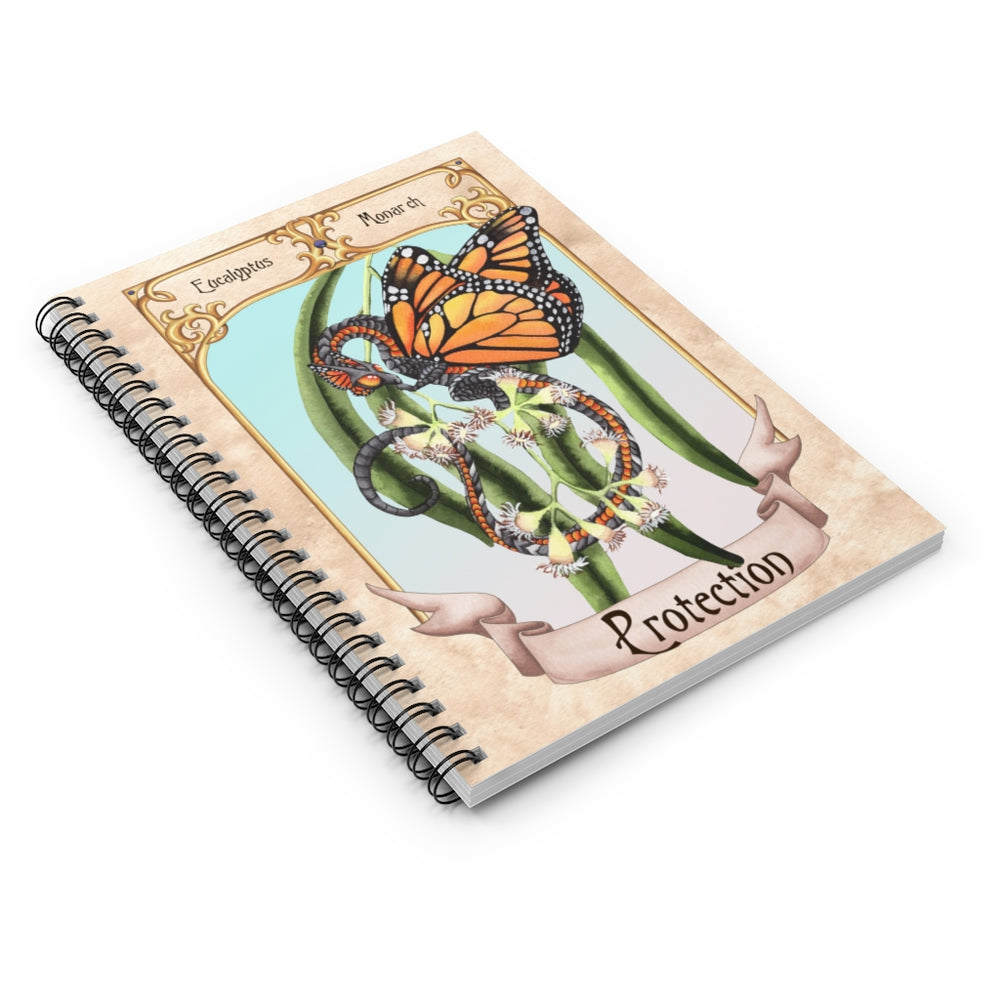 Load image into Gallery viewer, Enchanted Blossoms: Protection Dragon Spiral Notebook - Ruled Line