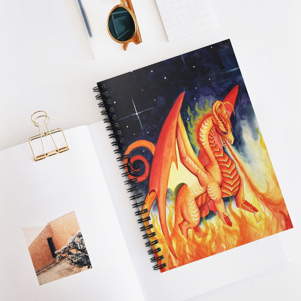 Load image into Gallery viewer, Dragon Oracle: Fire Dragon Spiral Notebook - Ruled Line