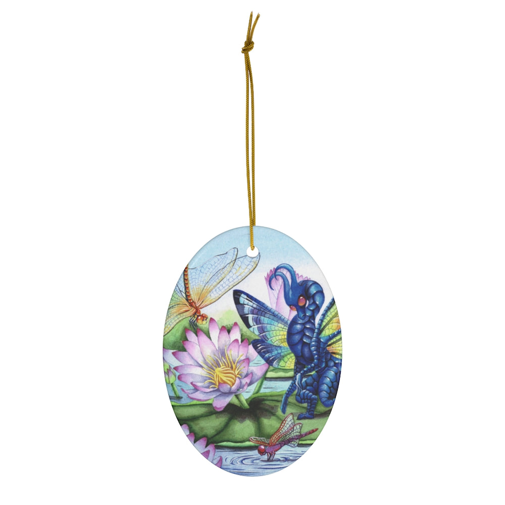 Jewels Upon the Water Dragon Ceramic Ornament